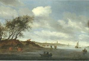 Rivierlandschap met op de achtergrond Arnhem