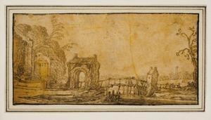 Landschap met poortgebouw en een houten brug over een riviertje