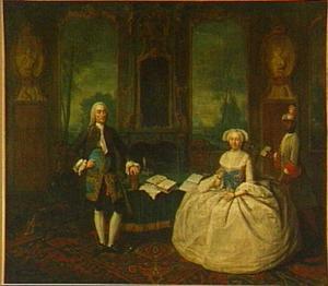 Dubbelportret van Jan Frederik Bachman (1720-?) en Johanna Catharina van den Broek (1721-?), met een bediende