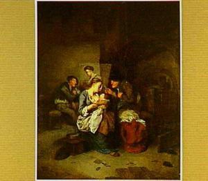 Boerin die haar kind de borst geeft in een interieur