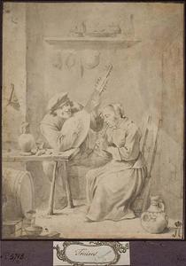 Musicerend paar in de herberg