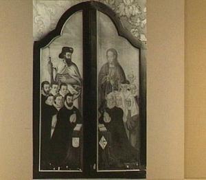 De H. Jacobus de Meerdere met stichters (links) en de H. Johannes de Evangelist met stichtsters (rechts)
