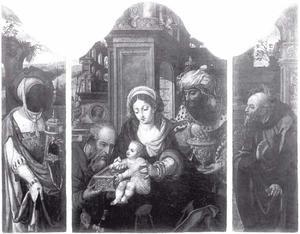Drieluik met de Aanbidding van de Koningen (middenpaneel); H. Jacobus (binnenzijde linkerluik); H. Paulus (binnenzijde rechterluik)
