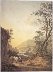 Italianiserend landschap met herder en koeien