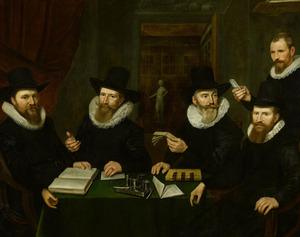 Vier regenten en een functionaris van het Rasphuis; op de achtergrond het beeld 'Castigatio' ('Kastijding')