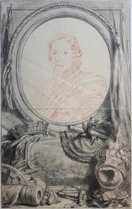 Ontwerp voor een cartouche rond een portret van Maurits van Oranje-Nassau (1567-1625), de Slag bij Nieuwpoort onderaan