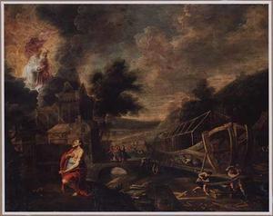 Landschap met God de Vader, die Noach opdracht geeft de ark te bouwen