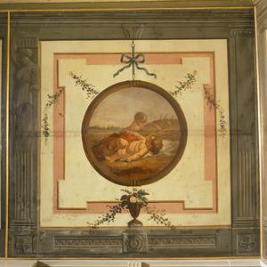 Trompe l'oeil met medaillon verwijzend de zomer of de reuk