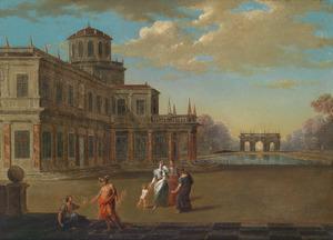 Plein voor een paleis, met Hermes en andere figuren