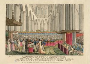 De doop van Ernst Casimir van Oranje Nassau (1822-1822) in de Nieuwe Kerk te Amsterdam op 18 juni 1822