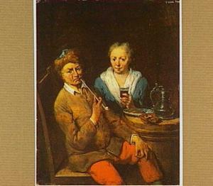 Rokende man en drinkende vrouw, zittend aan een ton