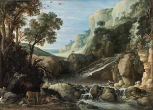 Berglandschap met herten bij een waterval
