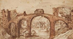 Rivierlandschap met stenen brug