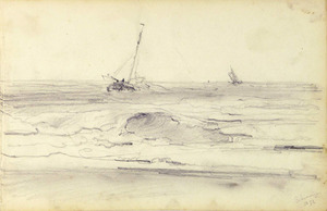 Zeilboten voor de kust bij Scheveningen