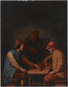 Kaartspelende boeren in een herberg, een oude boer kijkt leunend op zijn wandelstok toe