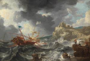 Schepen in een storm bij een rotsachtige kust met een fort