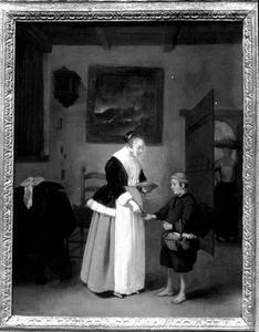 Interieur met jonge vrouw en garnalenverkoper