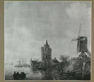 Oever van een rivier met een molen en de ruïne van een kasteel