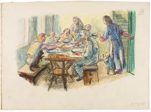 Boerenfamilie aan tafel