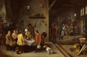 Interieur van een herberg met drinkende, rokende en dansende figuren