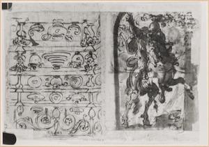 Schetsboekblaadje met twee voorstellingen