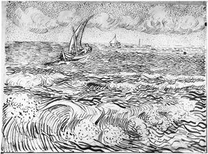 Zee met zeilboten