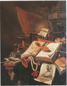 Vanitasstilleven met een globe, boeken en een prent van een zwarte vrouw