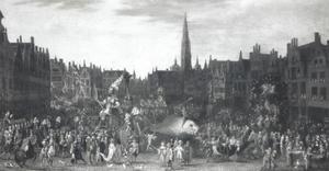 De Ommegang op de Meir te Antwerpen (t.g.v. Maria Hemelvaart op 15 augustus)
