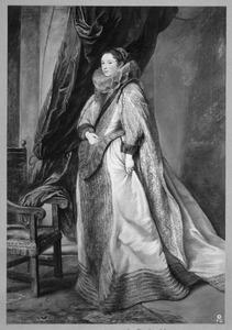 Portret van een vrouw met zwarte sjerp en manchetten