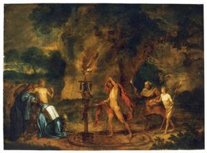 Tovenaars en heksen bij fakkellicht tijdens een zwarte mis voor een grot
