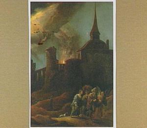 Lot en zijn dochters worden door een engel uit het brandende Sodom weggeleid (Genesis 19:24-29)