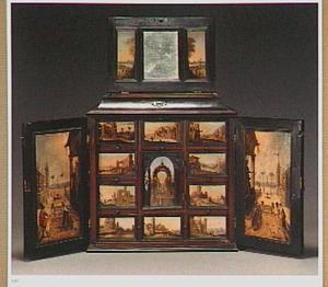 Kunstkastje met vijftien geschilderde landschapjes en een spiegel