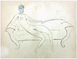 Vrouwelijk naakt op sofa