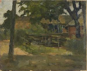 Farmstead in Het Gooi, viewed between trees and over fence