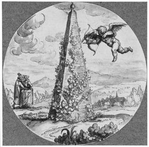 Cupido en verliefd paar bij een met klimop begroeide obelisk