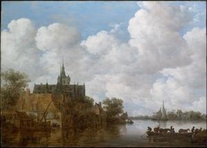 Rivierlandschap met een veerboot en een kerk