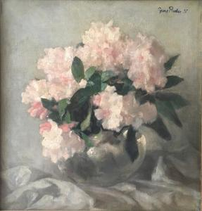 Stilleven van rhododendronbloemen in een vaas