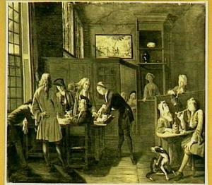 Een rokend en drinkend gezelschap in een herberg
