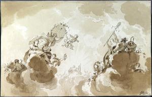 Apollo met de vier seizoenen: Flora (de Lente), Ceres (de Zomer), Momus (de Winter) en Bacchus (de Herfst)