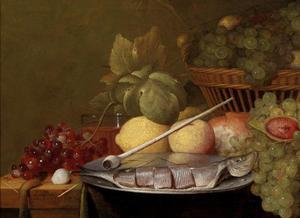 Stilleven met citroenen, druiven, een pijp en gefileerde haring