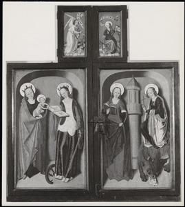 Maria en Kind (buitenzijde linkerluik); De H. Catherina (buitenzijde rechterluik); De H. Barbara (buitenzijde linker bovenluik); De H. Margareta (buitenzijde rechterbovenluik)