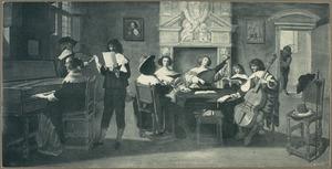 Musicerend gezelschap in een interieur