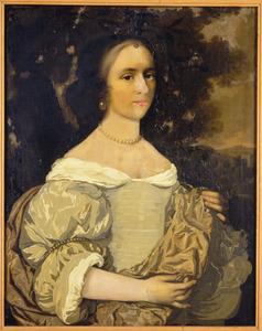 Portret van een vrouw in een landschap, wellicht Barbara Thiens