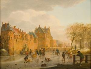 Winterlandschap met een gezicht op de Waterslootse Poort in Delft