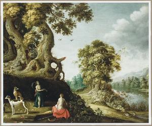 Landschap met Diana, een van haar nimf en jachthonden