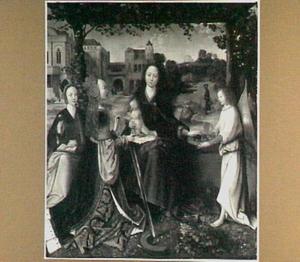 Maria met kind, heiligen en een engel