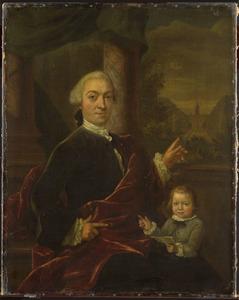 Portret van Jan van de Poll (1721-1801) met zijn zoon Harman tegen de achtergrond van het huis Spijk bij Velsen