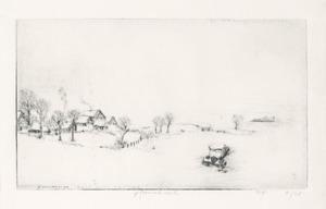 Weg naar Dieppe, Sneeuwlandschap met gestrand autowrak
