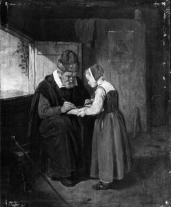Oude schoolmeester en meisje