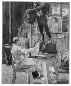 Jan Toorop in een beeldhouwersatelier te Brussel